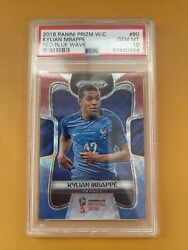 2018 Panini Prizm World Cup Red Blue Wave Kylian Mbappe Rookie Rc 80 Psa 10 Gem