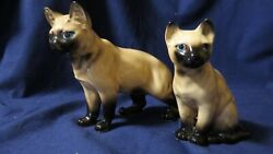 2 Porcelain Siamese Cat Figurines Made in Japan