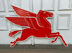 Mobil Gas Right Flying Red Horse Pegasus Metal Heavy Steel Sign Extra Large 35
