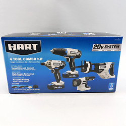 Hart 4 Tool Combo Kit 1/2 Drill Driver, Impact Driver, Reciprocating Saw, And M