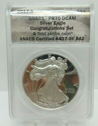 2017-s Anacs Pr70 Dcam S1 American Silver Eagle - Us Coin - 407 Of 842 - H2677