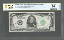 1934a 1000 Federal Reserve Note Cleveland Fr. 2212-d - Pcgs 30 Very Fine - S608