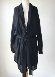 Sharon Wauchob Black Silk Deconstructed Belted Duster Jacket Coat M L