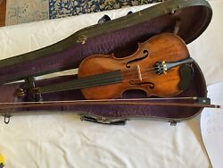 Antique Full Size Violin With Case And Bow Made In Germany Made For Lewis And So