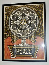 Shepard Fairey Peace Tree 2007 Rare Gold Holiday Signed Obey Print Poster