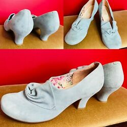 Hotter Donna Powder Pastel Blue Suede Victorian Inspired Rushed Bow Shoes 6.5