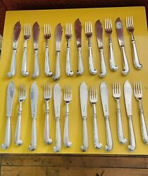 Vintage Richard Comyns English Sterling Silver 24 Pc Fish Knife And Fork Set 1937
