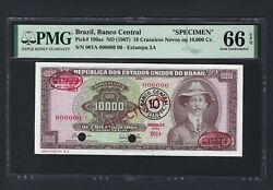 Brazil 20 Cruzeiros Nuvos On 10000 Cr. Nd1967 P190as Specimen Uncirculated