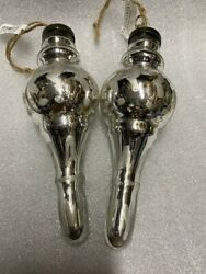 New Pottery Barn Mercury Silver Finial Christmas Ornament Set Of 2 Nwt Sold Out