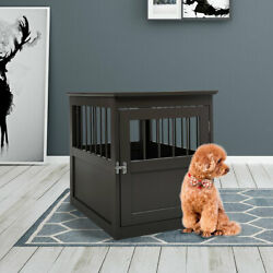 Dog Wooden Crate Kennel Cage Bed Night Stand End Table Wood Furniture 27.5 H