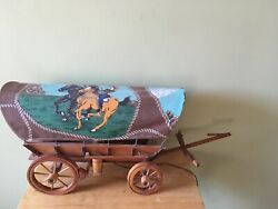 Vintage Unique Western Covered Wood Wagon Working Table Desk Lamp Light 50s