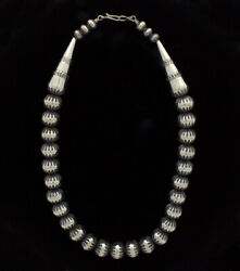 21 Sterling Silver Bead Necklace By Navajo Artist Jeffrey Nelson