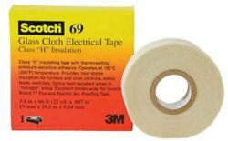 Pt963069 White 3m 69 Glass Cloth Electrical Tape 7mil 1/2in X 66ft Pack Of 50