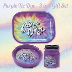Cheech And Chong 3 In 1 Gift Set Rolling Tray Ceramic Ashtray And Stash Jar