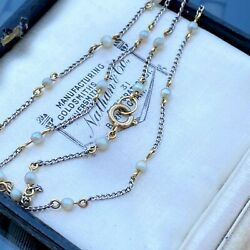 Edwardian Platinum And 18ct Gold, Natural Seed Pearl Chain, Length 15 / 38cm