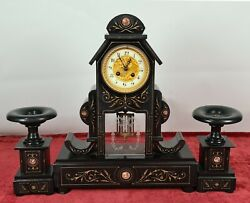 Table Clock. Paris Machinery. Marble Furniture And Columns. Xix Century.
