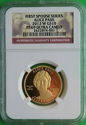 2012 W Alice Paul First Spouse 1/2 Ounce 99.9 Pure Gold Ngc Pf 69 Ultra Cameo