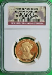 2014 W Eleanor Roosevelt First Spouse 1/2 Oz 99.9 Pure Gold Ngc Pf69 Ucam Rare