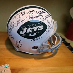1969 Ny Jets Team-signed Full Size Riddell Nfl Helmet Autograph Auto Steiner
