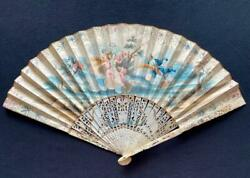 18th C Antique Hand Painted Gilt Folding Fan Neoclassical Carving Putti Art 261