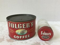 Folgers Coffee Tin Vintage And Folger's Instant Coffee Jar Sailing Ship Poppy