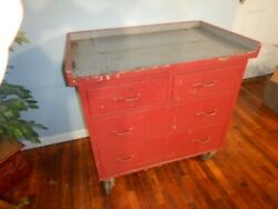 Vintage 4 Drawer Rolling Tool Cabinet Red Gray Kitchen Island Industrial Metal
