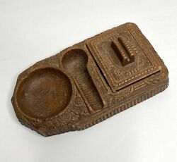 Vintage 1940s Syroco Faux Wood Cigar Pipe Rest Stand Ashtray