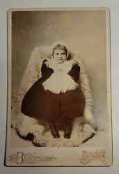 Antq Cabinet Card Photo Beautiful Little Girl Child Beach's Lowville Ny Babcock-