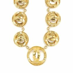 Coco Mark Round Necklace Gold Accessory Vintage 90117734
