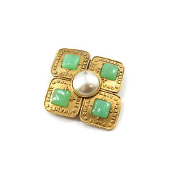 Brooch Gold Accessory Pearl White Green 28 Vintage 90120481