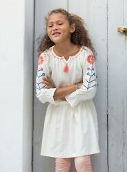 Tea Collection Girls Chalk Embroidered Tassel Trim Dress Size 2t Or 3t