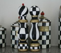 ❤️hand Painted Black And White Checkered Salt And Pepper Mill Wood Shaker Set❤️