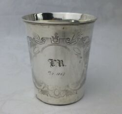 German 750 Solid Silver Childand039s Cup 1867 Aesthetic Engraving Antique