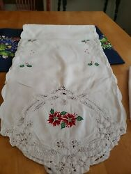 Vintage Lace with Embroidered Poinsettia Table Runner and Bread Basket Clothe