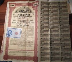 Hungary 1927 Land Mortgage Institute 1000 Dollars Gold Not Cancelled Bond Share