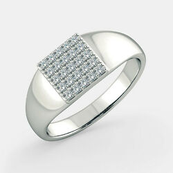 Superbe 0.40 Ct Naturel Diamant Hommes Bague Mariage Solid 14k Or Blanc Taille T