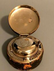 Antique Navy Ships Travel Portable Inkwell Leather Case Original Glass Bottle