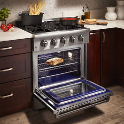 Thro 30and039and039 Oven Gas Range Electric Convection Stainless Steel Dual Fuel 4.2 Cu.ft