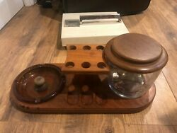 Vintage Pipe Stand For 6 Decatur Industries Genuine Walnut With Humidor/ashtray