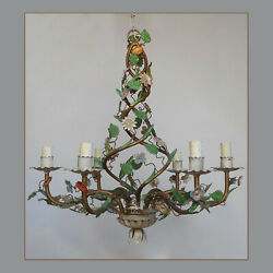Antique Italian Tole Chandelier Ceiling Light 6 Arms Flowers Italy Vintage
