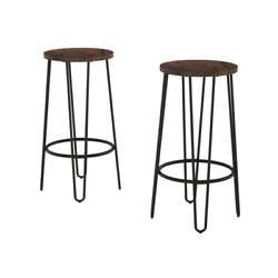 29.5 In. Dark Walnut Modern Wooden Backless Bar Stools With Metal Hairpin Legs