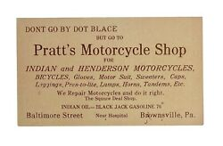 Vintage 1910s Indian And Henderson Motorcycle Dealership Business Card