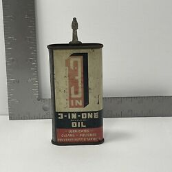 Vintage 1950s 3in 3 In 1 Handy Oiler 3 Oz Can Gas Oil All Metal Stem And Cap