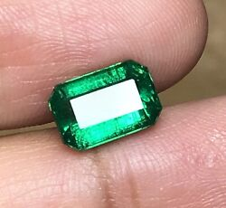 2.45cts Natural Earth Mined Zambia Top Green Emerald Minor Oil Loose Gemstone