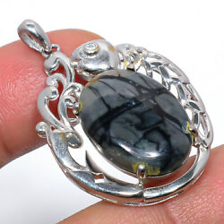 Picasso Jasper And Cz Gemstone 925 Sterling Silver Pendant Jewelry 1.6 F2546