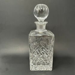 Vintage Rogaska Crystal Etched Square Liquor Decanter Flawless 5 Lbs.