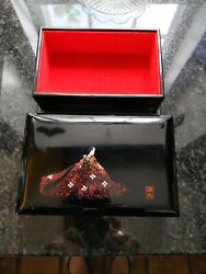 Vintage Japanese Lacquer Box Signed With Seal Mark. Elegant Geisha Floral Dress