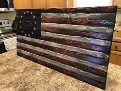 Rustic Hand Carved Wooden Betsy Ross American Flagwall Artman Cave Farmhouse