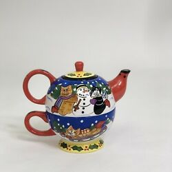 Catzilla 2001 Christmas Edition Candace Reiter 2 In 1 Teapot Cup Set Cat Santa