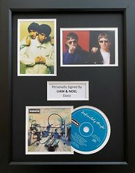 Liam And Noel Gallagher Genuine Hand Signed Oasis Cd Cover In 16x12 Frame Display